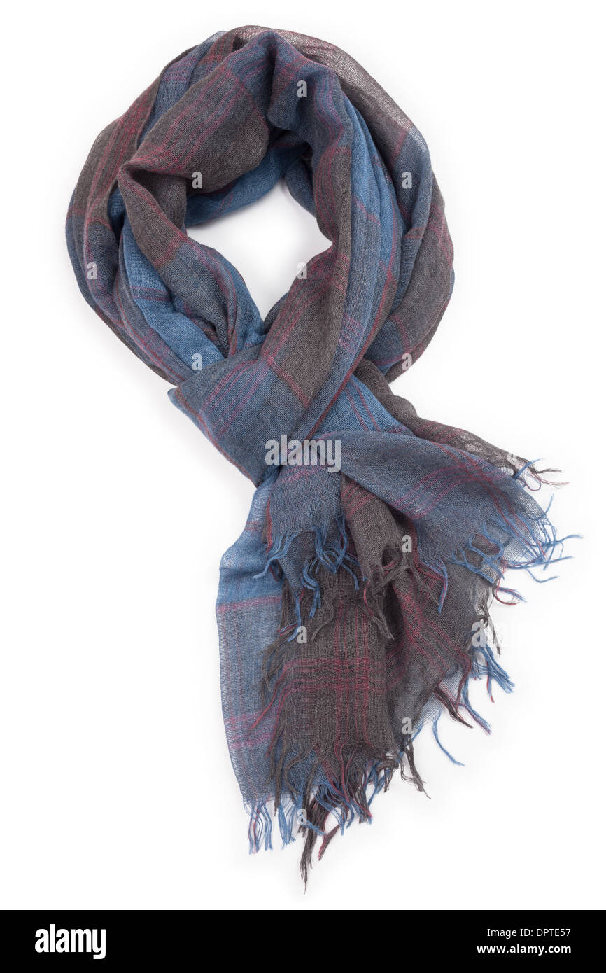 scarf wool isolated on white - Stock Image