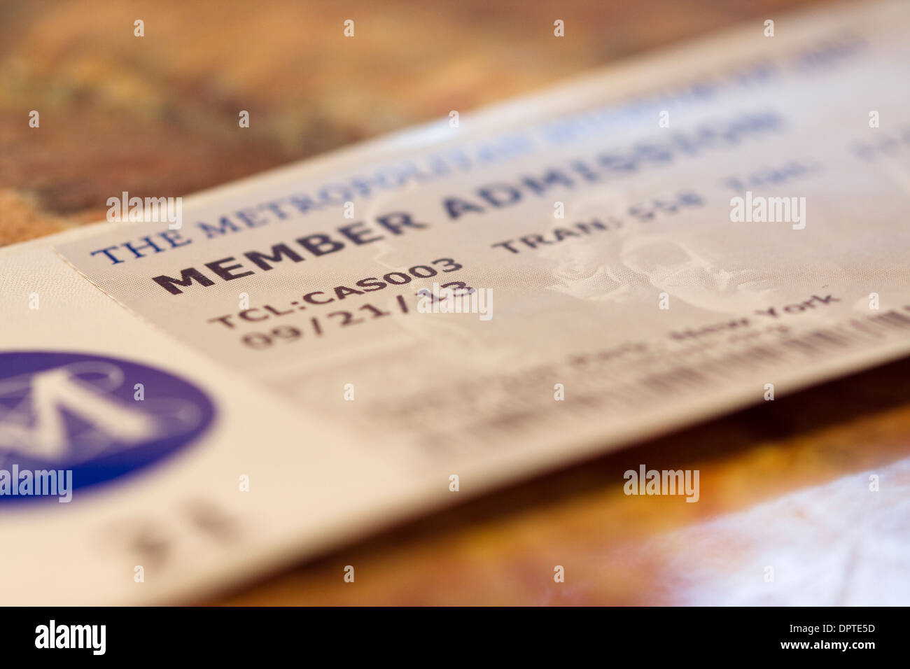 Member Admission Ticket to the Metropolitan Museum of Art in New York City - Stock Image