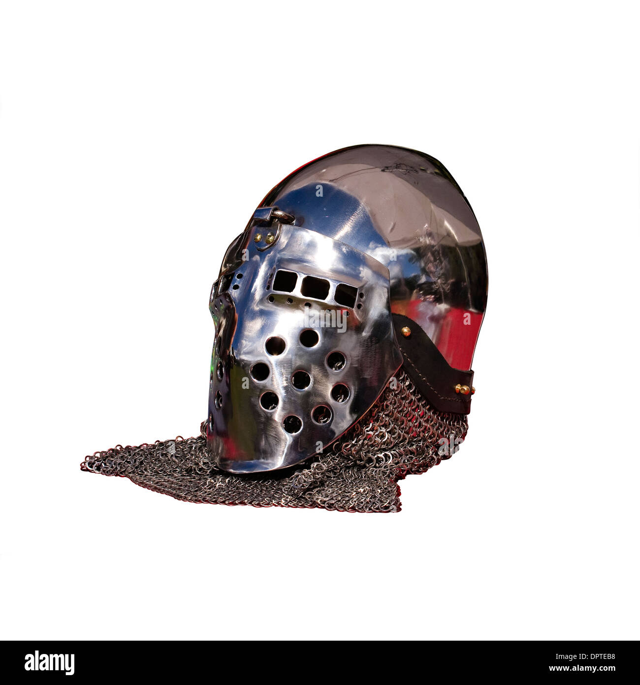 Cut Out. Medieval Knight's Helmet of shining armor and chain mail on white background - Stock Image