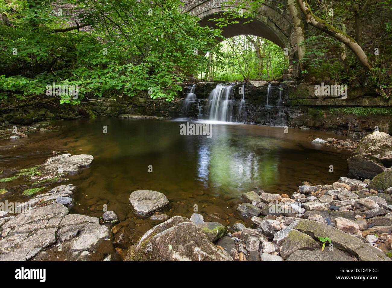 Waterfall on Bowlees Besck, Bowless, Upper Teesdale, England - Stock Image
