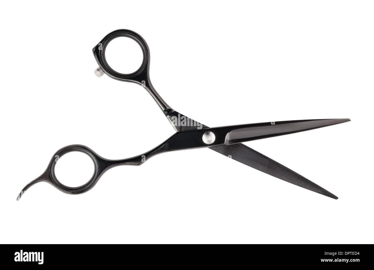 barber scissors path isolated on white - Stock Image