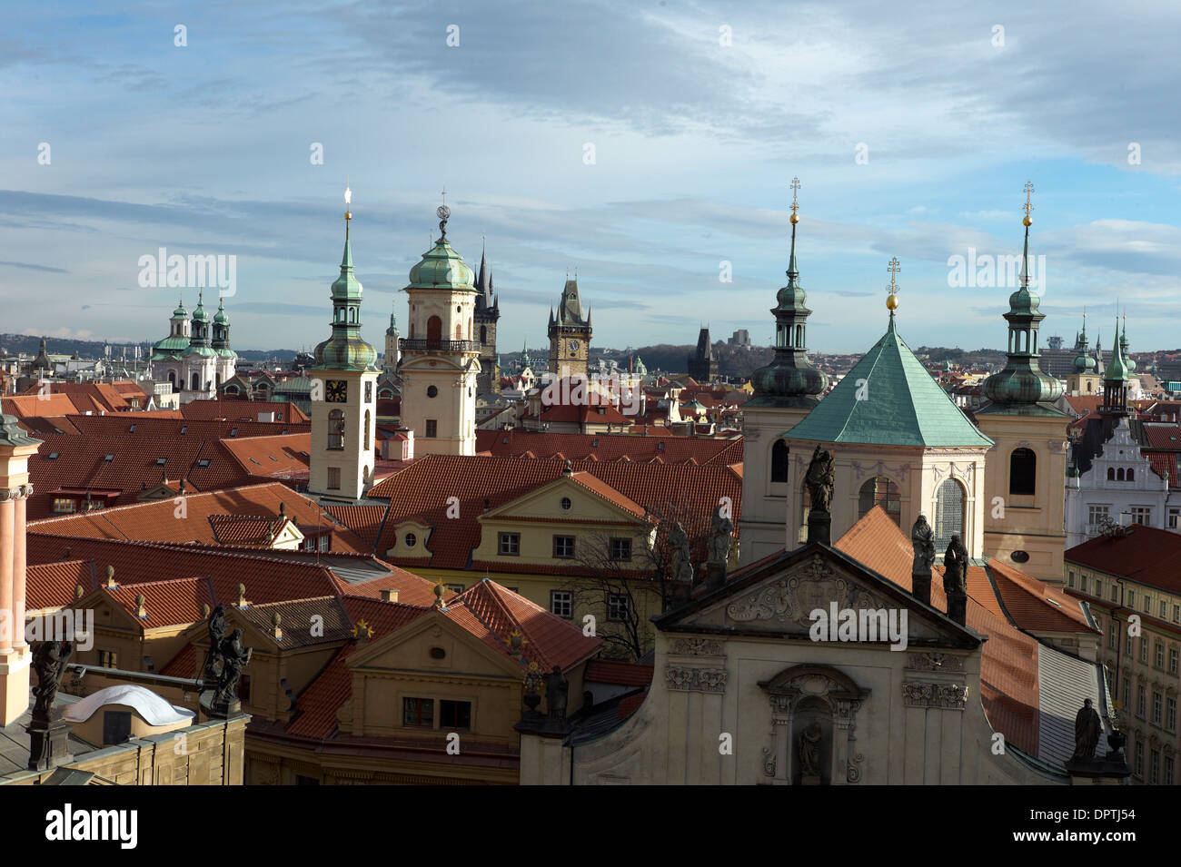 View across the Spires of the Old Town area of Prague from the Old Town Bridge Tower staromestska mostecka - Stock Image