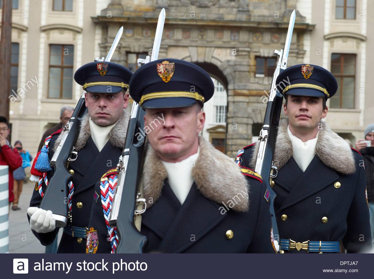 Castle Guards at Prague Castle or Hradcany seat of the czech president. Czech Republic - Stock Image