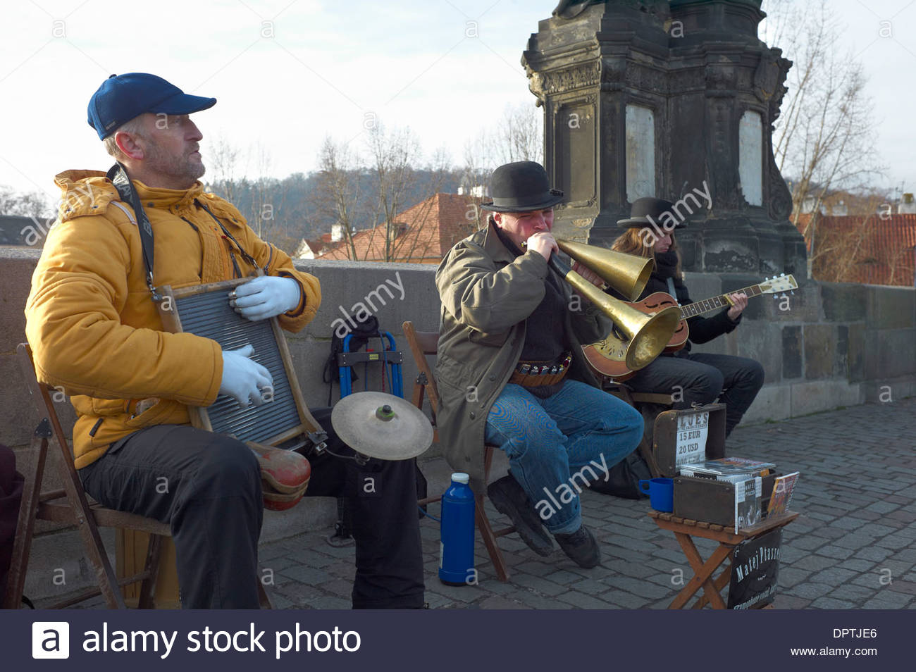 Jazz Musicians on Charles Bridge in Prague Czech Republic - Stock Image