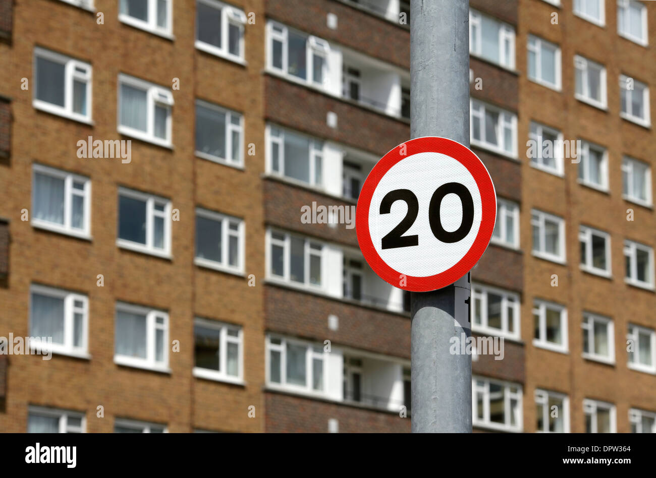 Twenty miles per hour speed limit sign in a residential, built up area, Brighton and Hove, East Sussex. - Stock Image