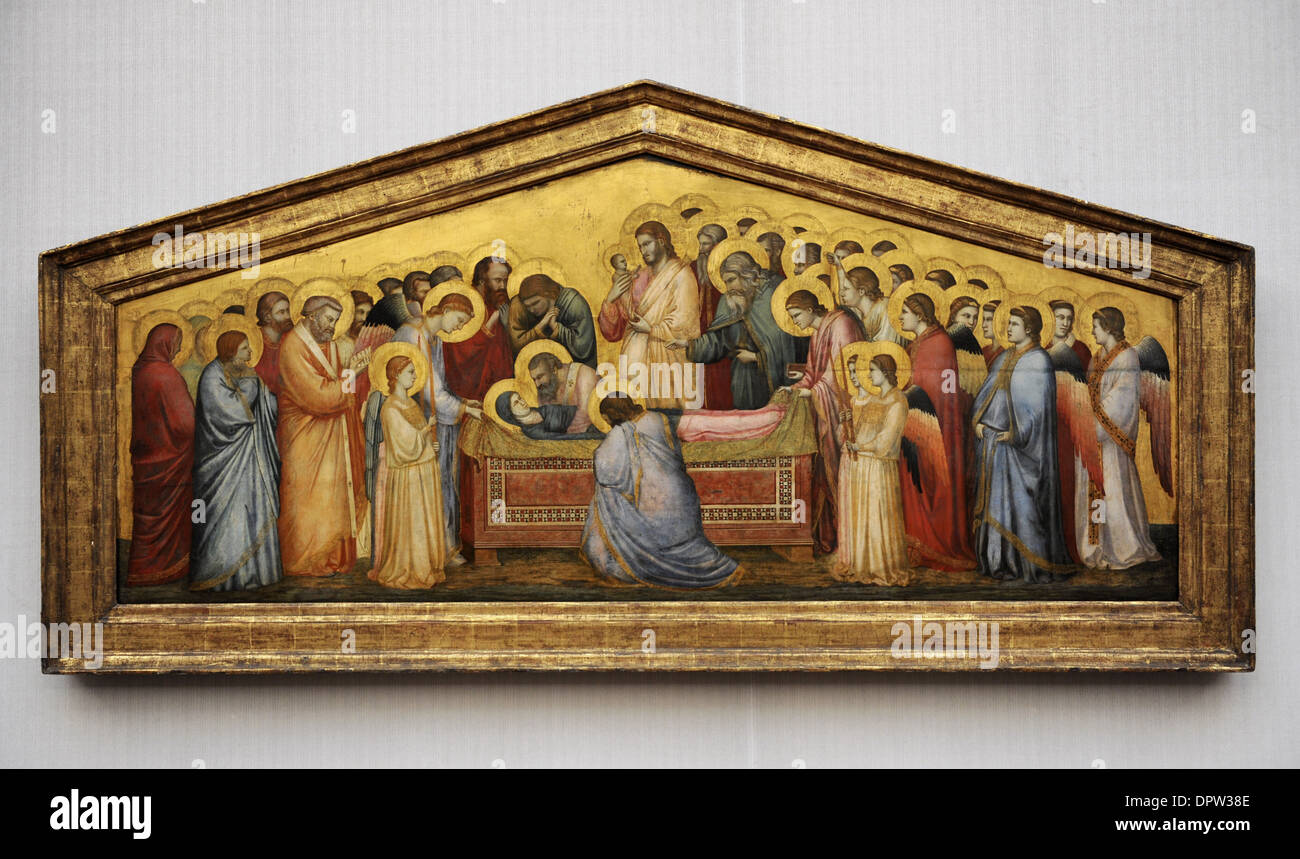 Giotto di Bondone (1267-1337). Italian painter. The Entombment of Mary, c.1310. Gemaldegalerie. Berlin. Germany. - Stock Image