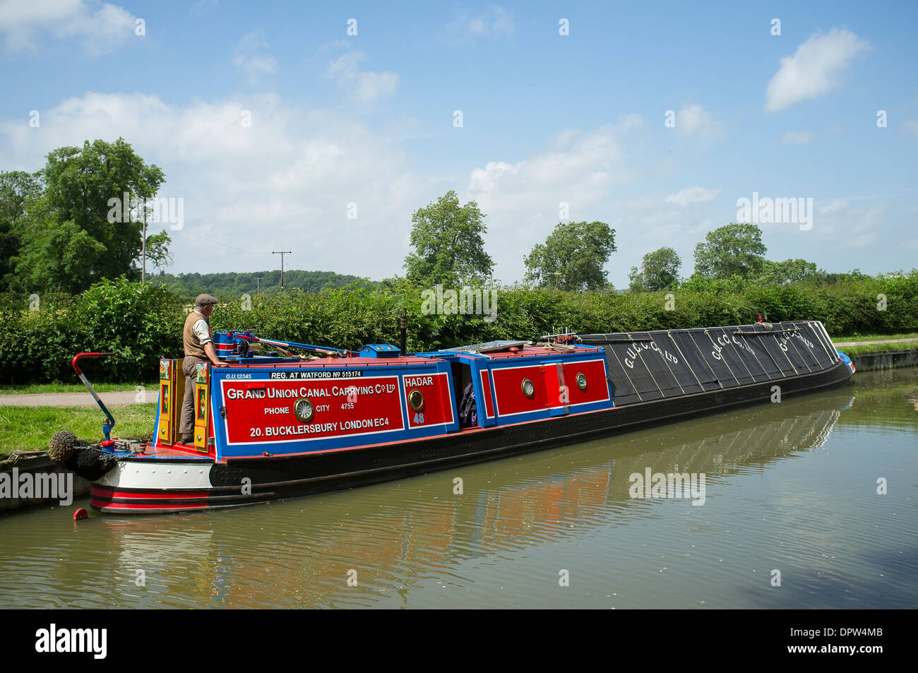 Barge on an English canal. - Stock Image