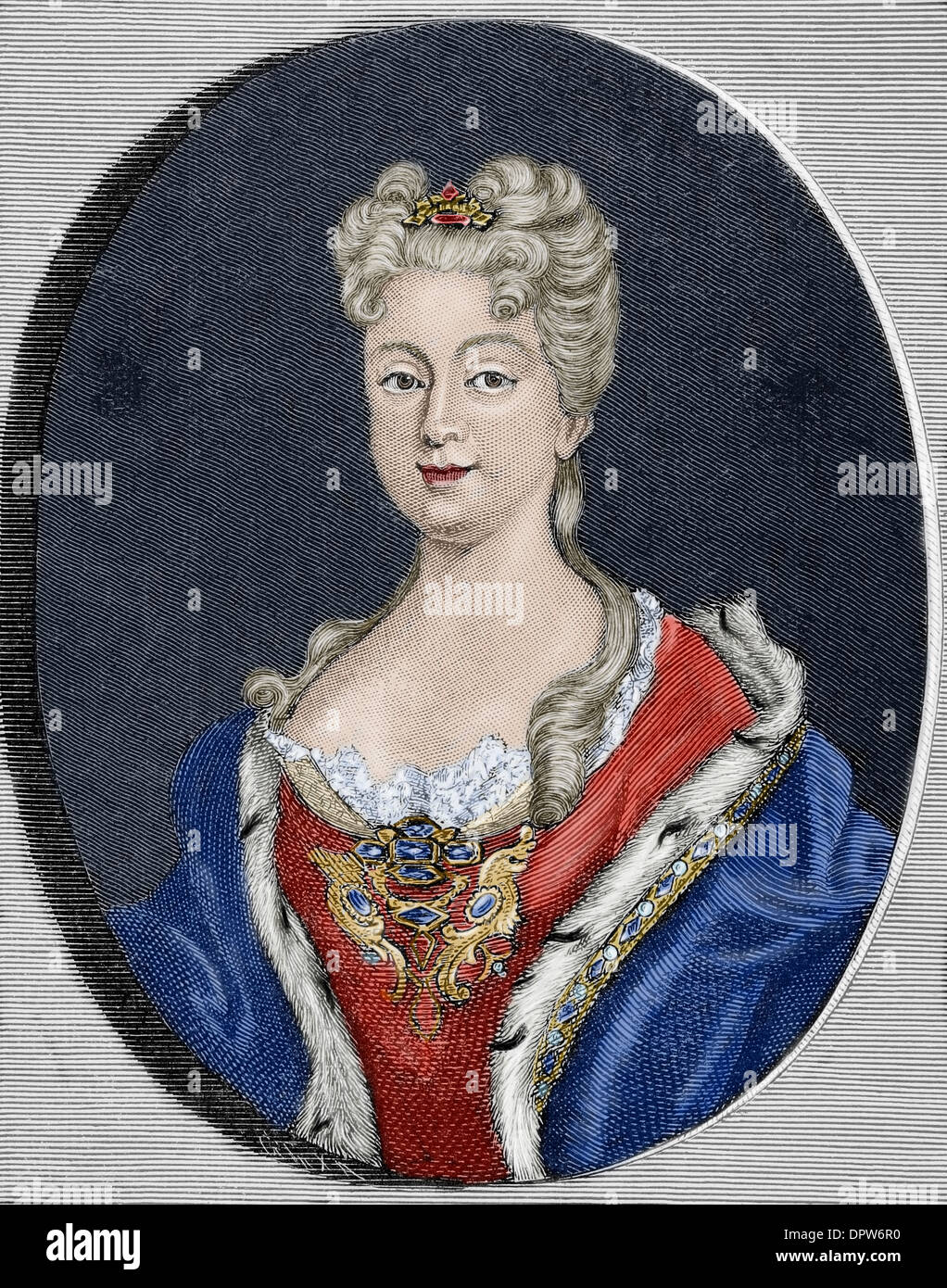Elisabeth Farnese (1692-1766). Queen consort of Spain, wife of Philip V. Colored engraving. - Stock Image