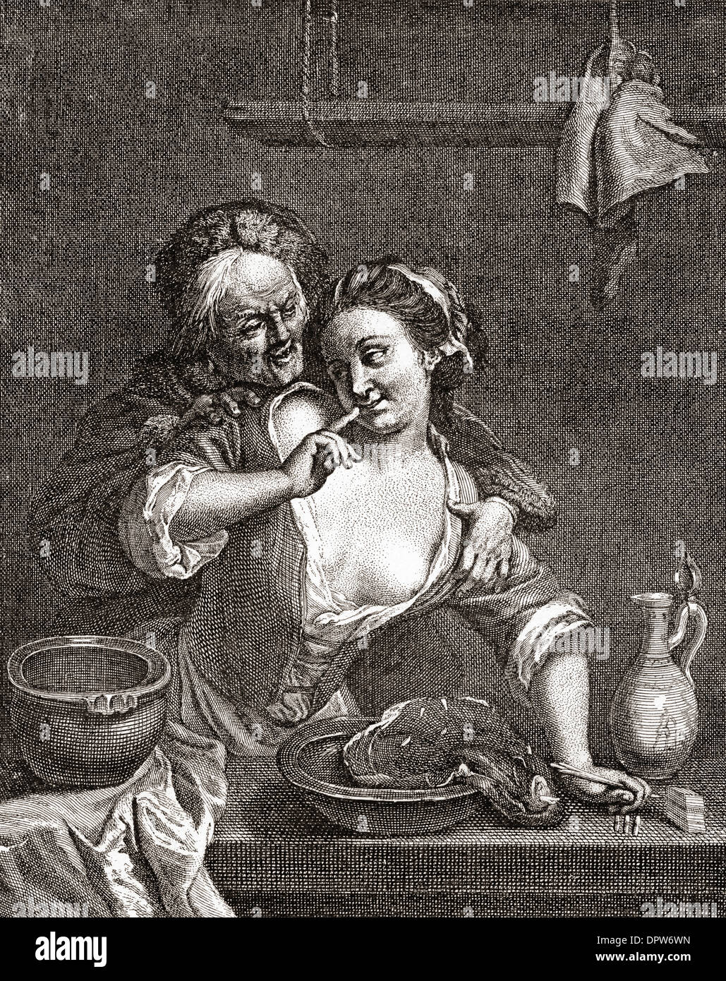 Older man seducing a young woman, after an 18th century work by Jacob van Schuppen. - Stock Image