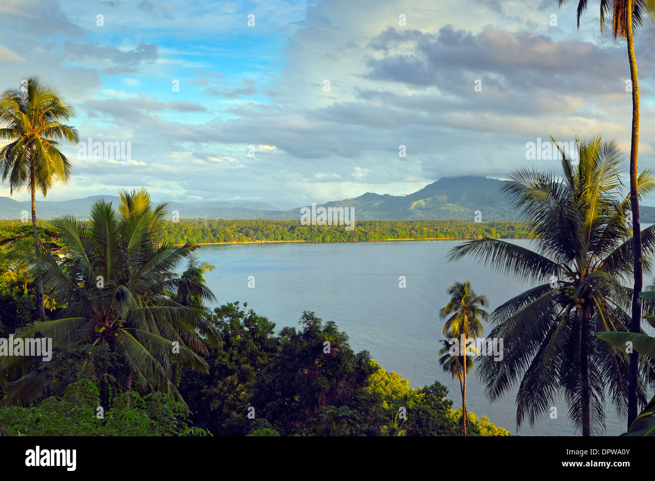 Scenic view of Bunaken Island coastline in north Sulawesi - Stock Image