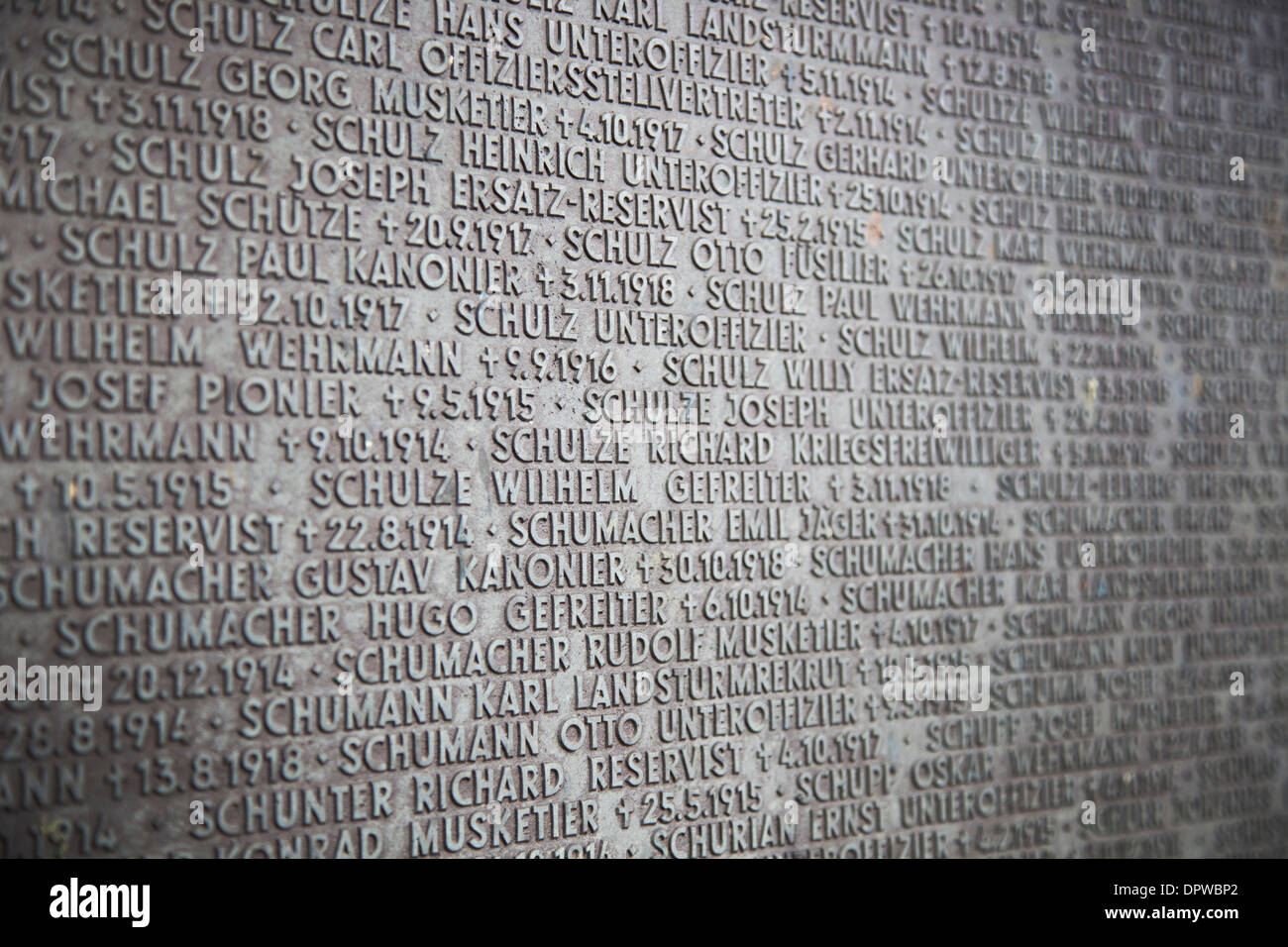 Detail of soldiers names on brass plaque at the Langemark