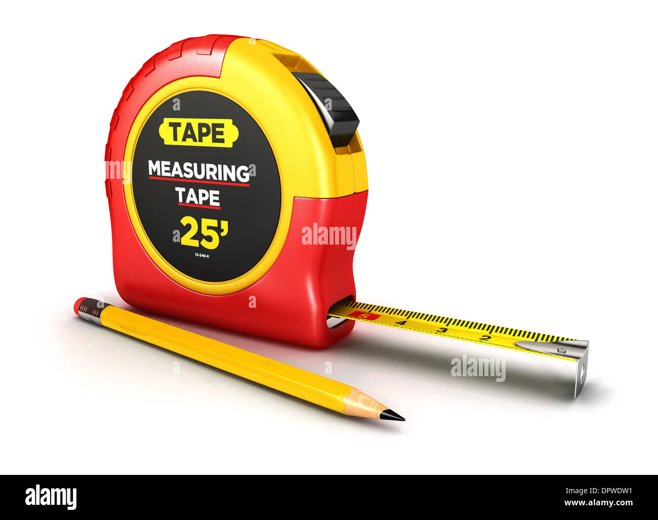 3d measuring tape and a pencil, isolated white background, 3d image Stock Photo