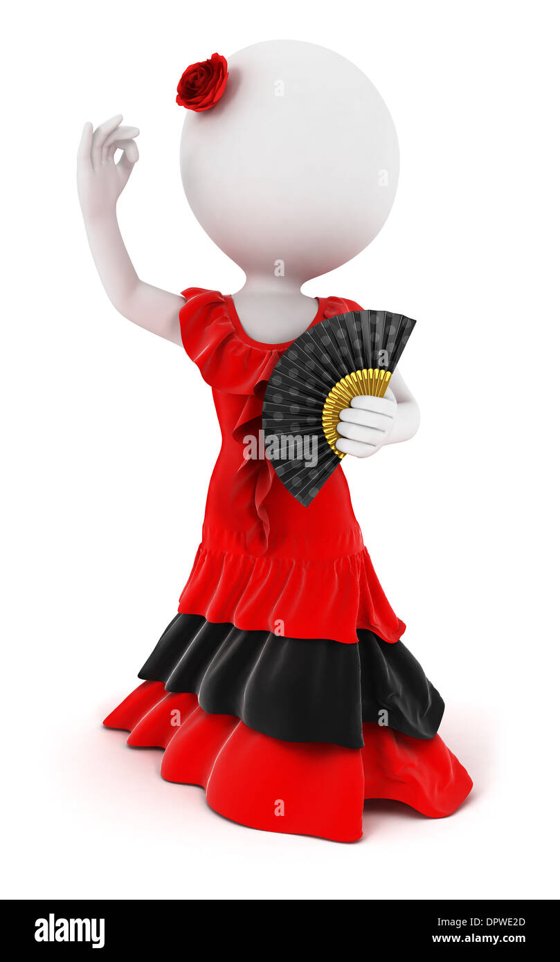 3d white people flamenco dancer, isolated white background, 3d image - Stock Image