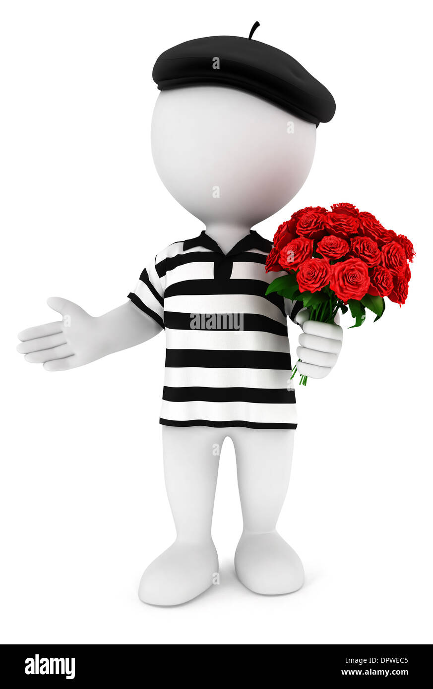 3d white people romantic frenchman with a bunch of roses, isolated white background, 3d image Stock Photo
