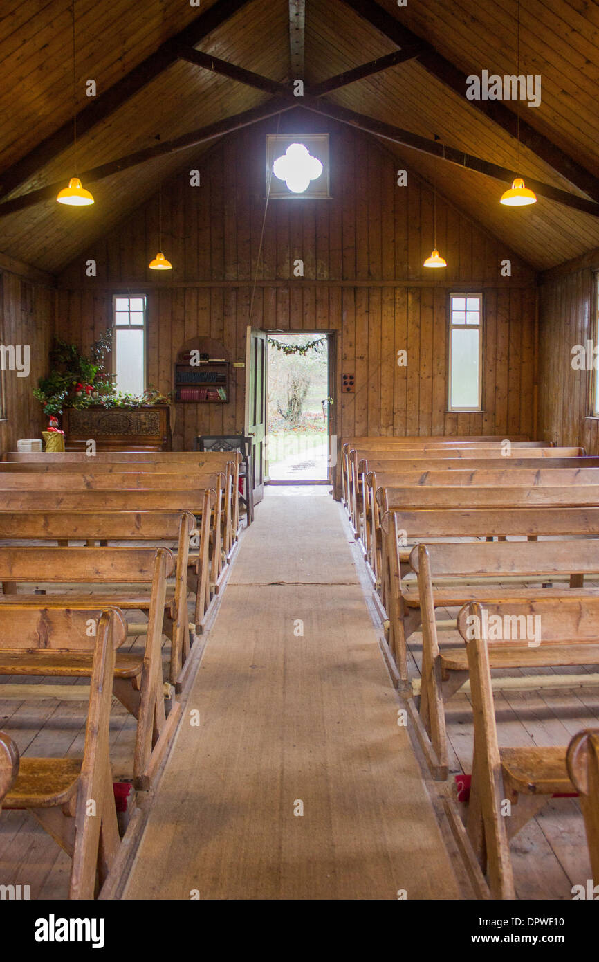 The inside of a small unused chapel. - Stock Image