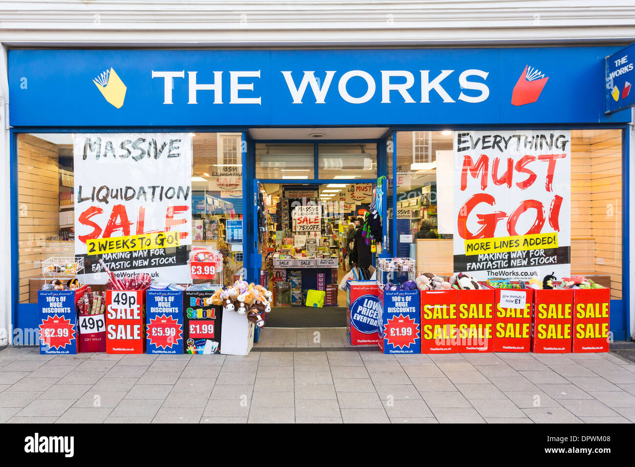 The Works Shop Front Liquidation Sale - Stock Image