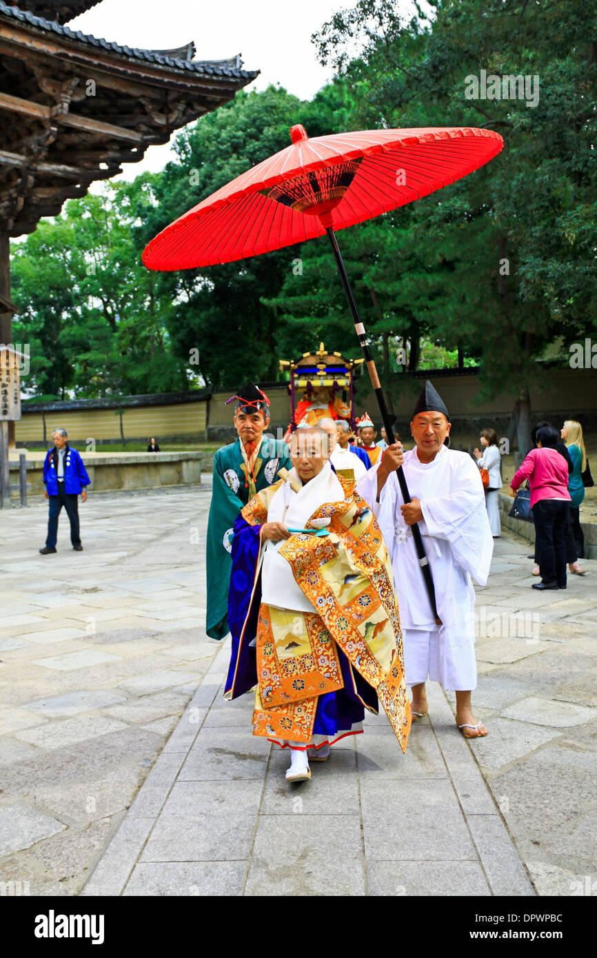 Buddhist procession at Todaiji Temple, Nara - Japan. Stock Photo