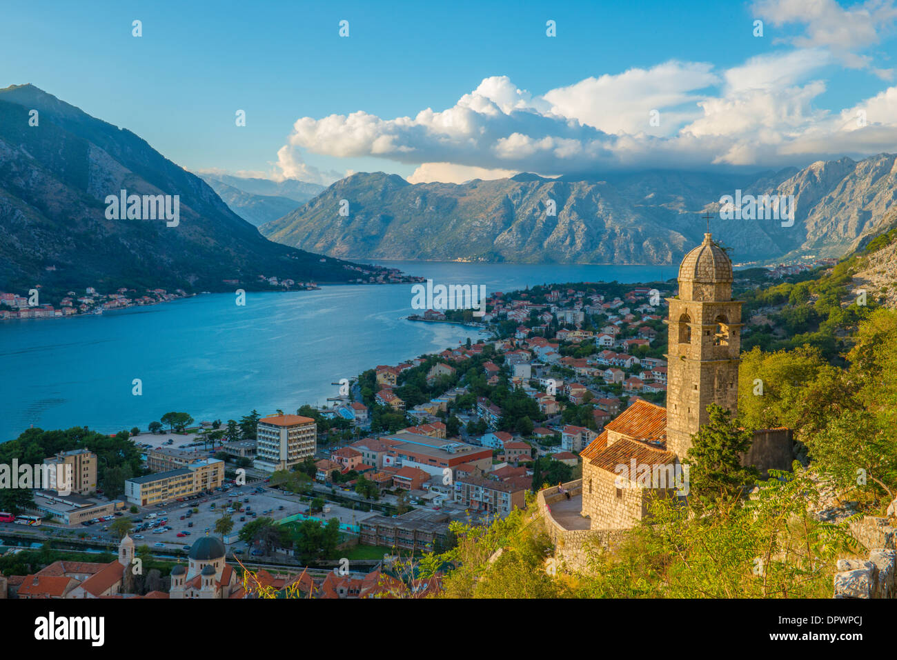 Belltower and view of Kotor along St. Giovanni Trail, Kotor, Montenegro Mediterraean Sea - Stock Image