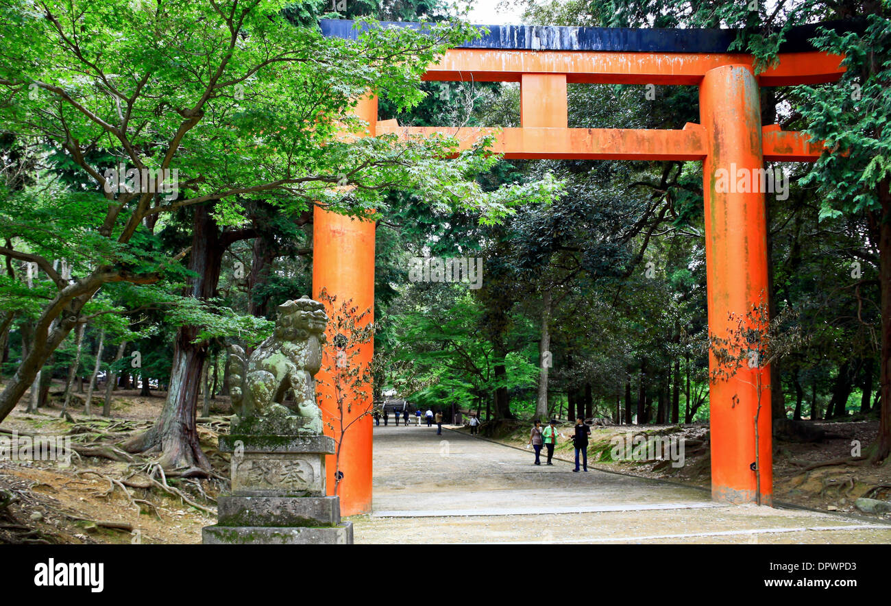 Ichi-no-Torii is the first gate leading to the Kasuga-Shrine in Nara Park, Japan. Stock Photo