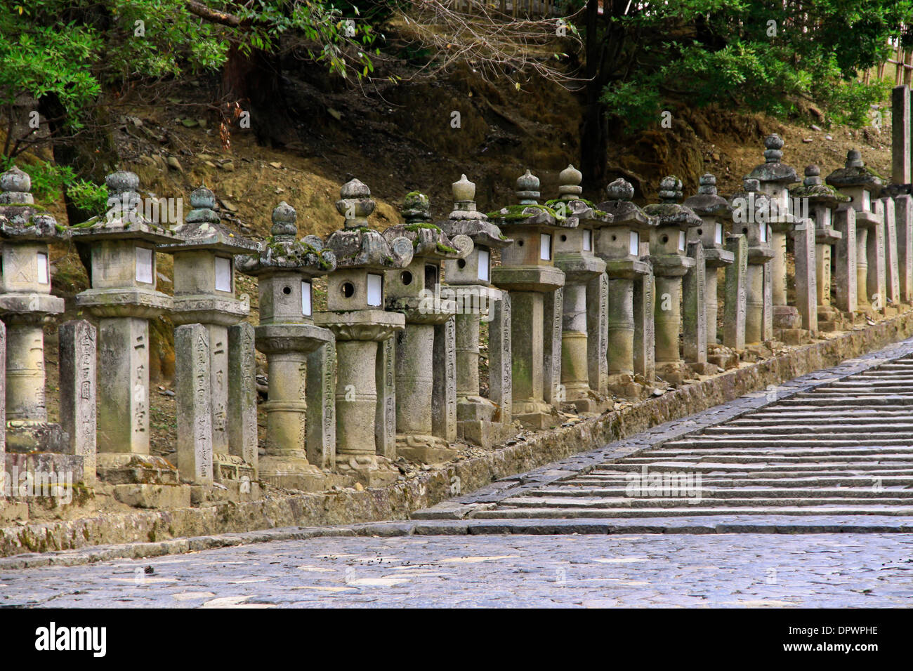 A multitude of stone lanterns along the stairway leading to Nigatsudo Hall, in the temple grounds of Todaiji, Nara, Japan. - Stock Image