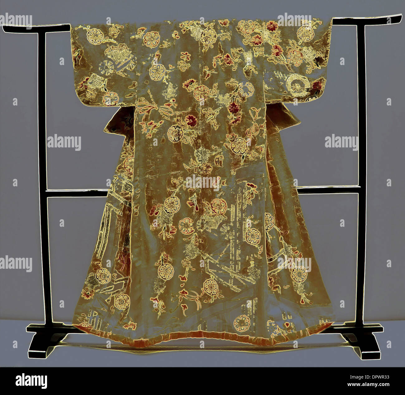 Kosode, a Japanese garment with small wrist openings, dating from the Edo Period- 18th century, Tokyo National Museum, Japan. - Stock Image