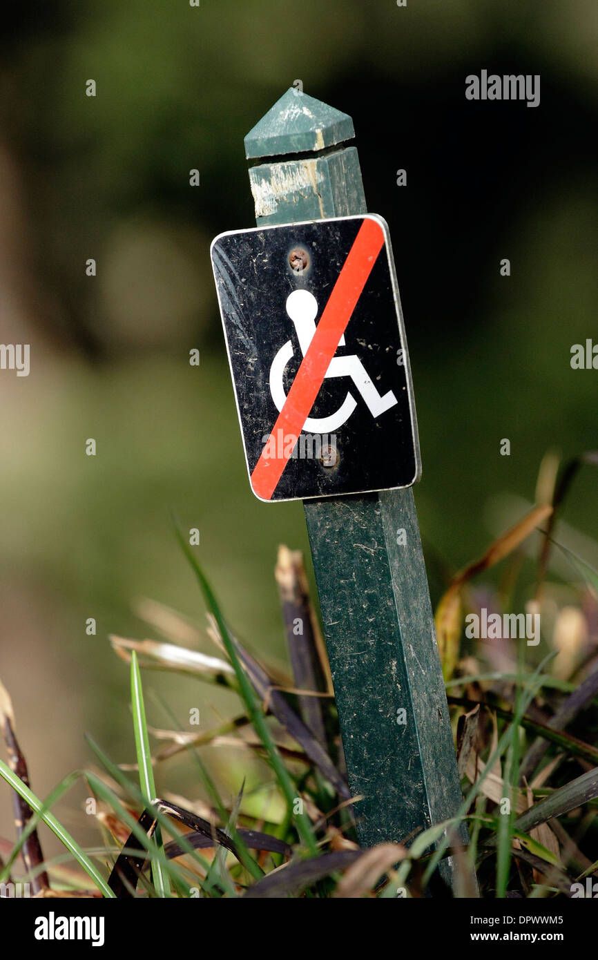 A sign showing wheelchair users that this path is unsuitable. - Stock Image