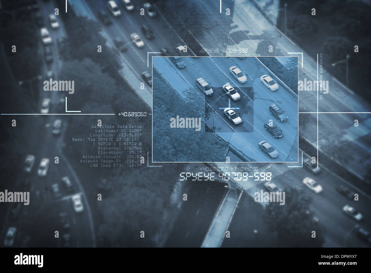 Spy Satellite Digital Bird Eye View - Search For Suspicious Car in Afternoon Commute. Digital Spy Targeting Theme. Surveillance - Stock Image