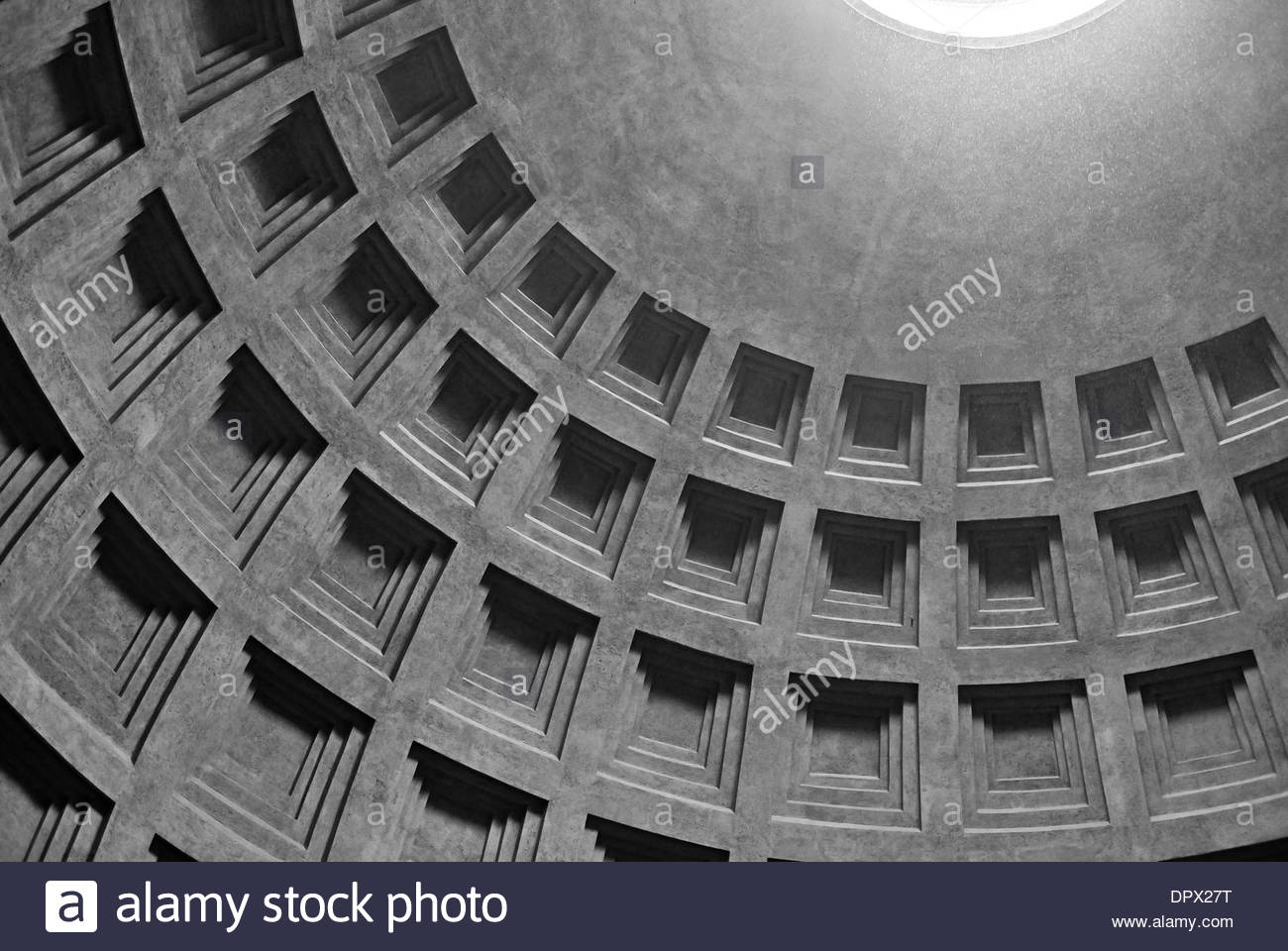 Ceiling of the Pantheon temple in Rome, Italy - Stock Image