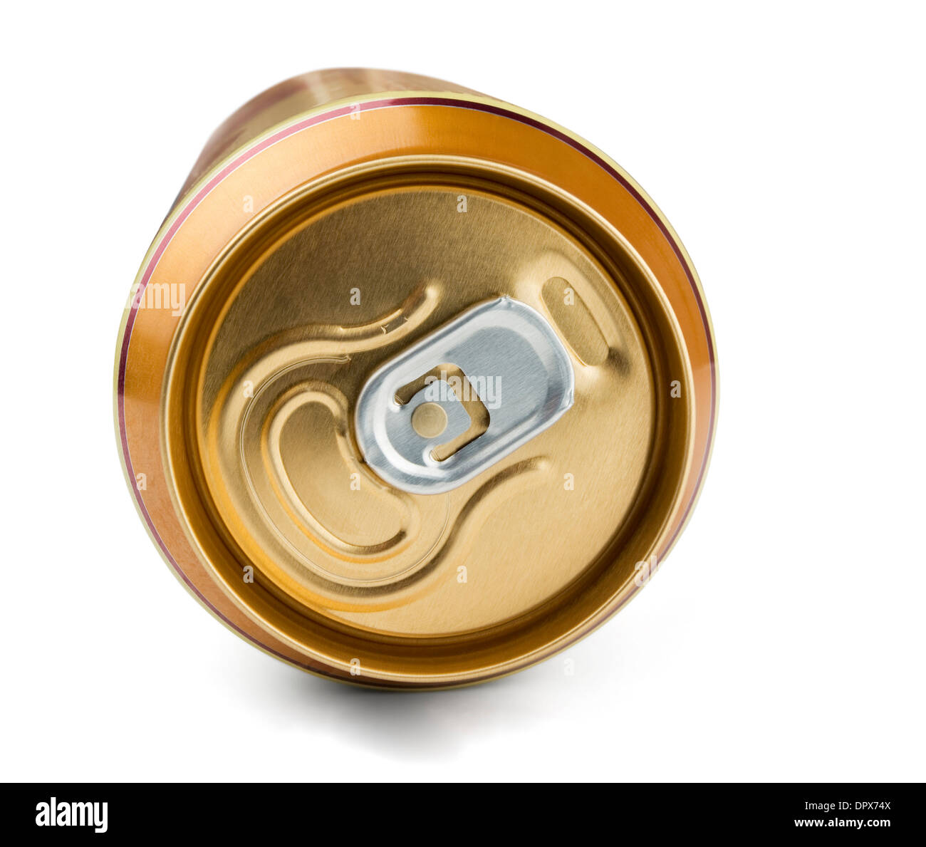 Top of golden aluminum drink can isolated on white - Stock Image