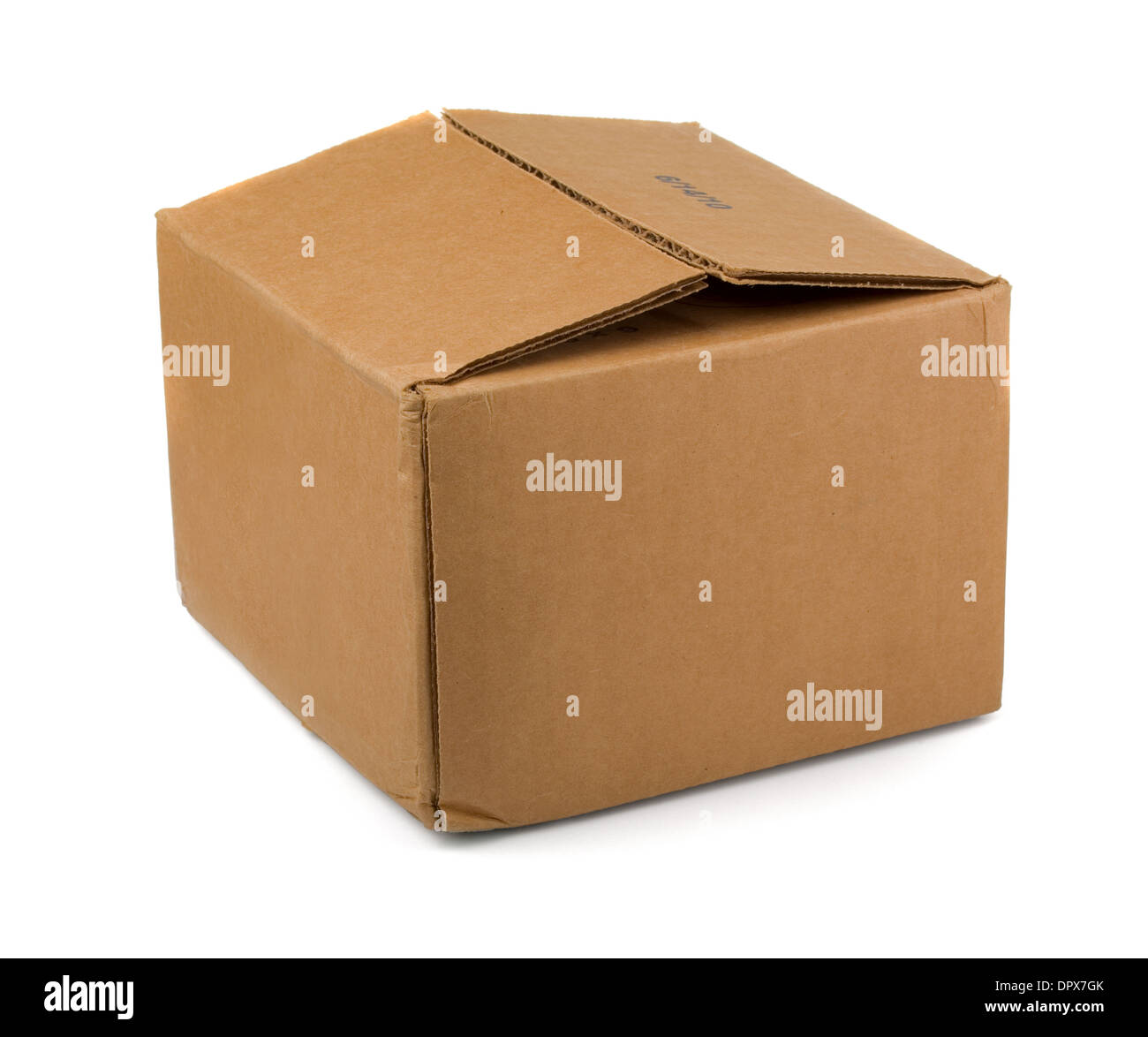 Brown cardboard box isolated on white - Stock Image