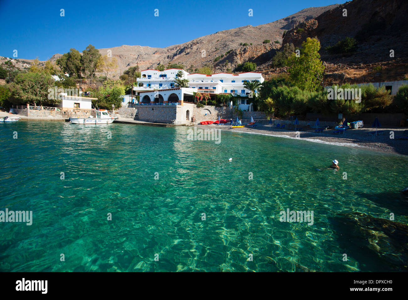 The hamlet of Finix or Phoenix, near Loutro, Sfakia region, Crete, Greece. - Stock Image