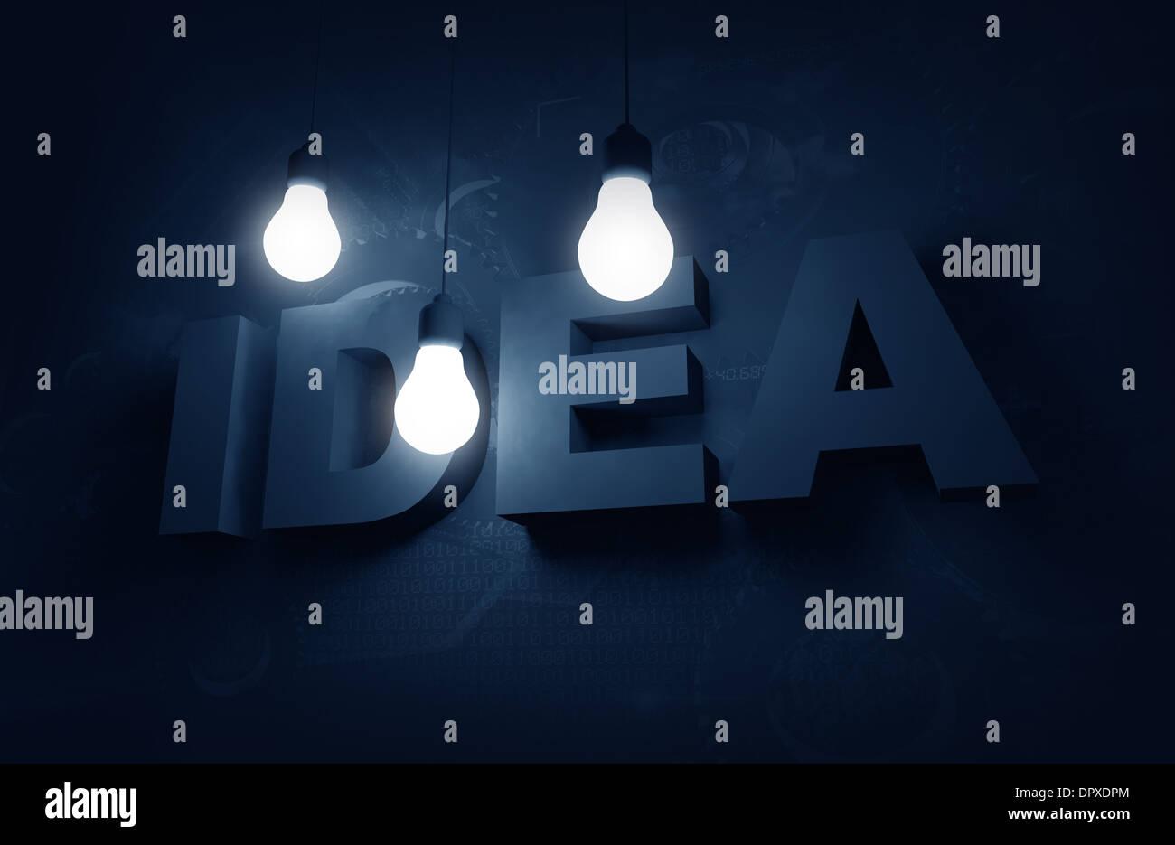 Idea Concept Illustration with Hanging Bulbs Illuminating Idea 3D Word. Blue Tones. - Stock Image