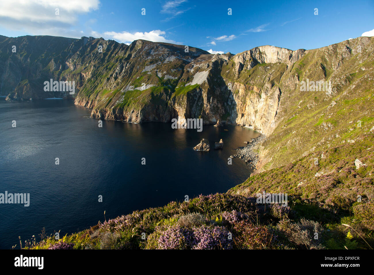 View across the Slieve League cliffs from Bunglas, County Donegal, Ireland - Stock Image