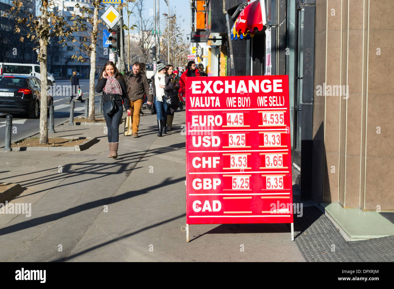 Foreign currency exchange rate board in Bucharest, Romania Stock Photo