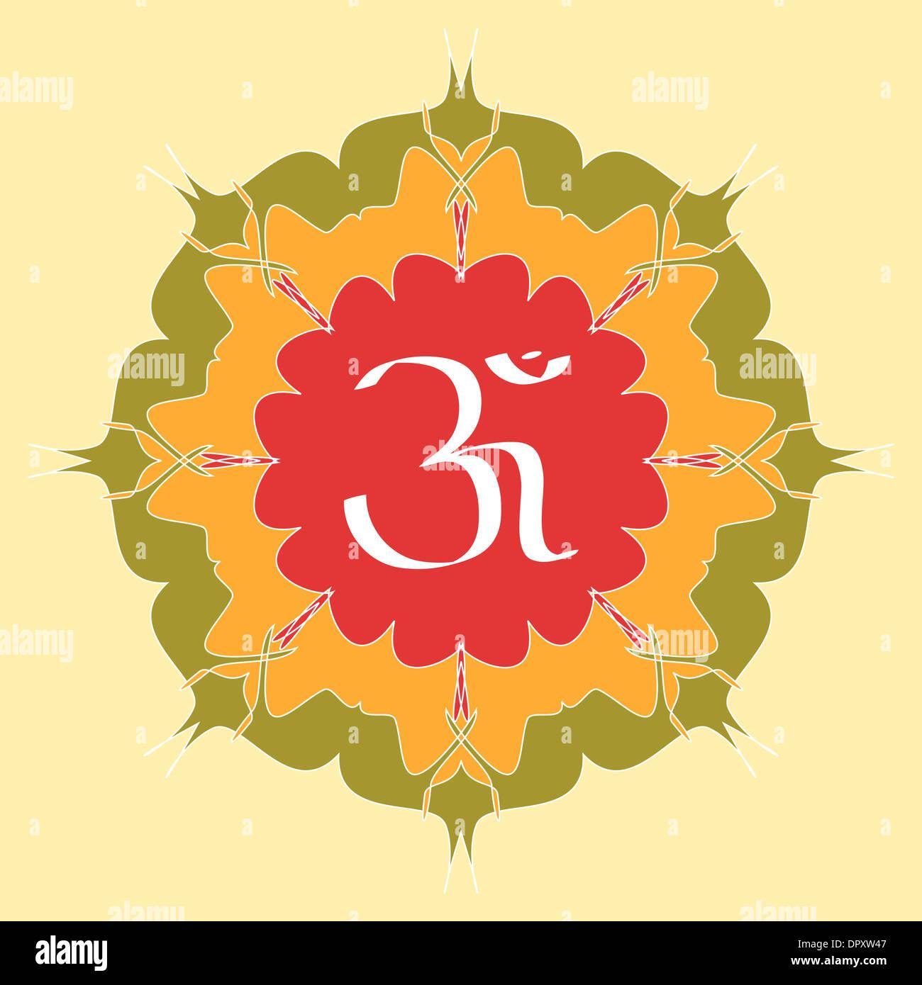 OM symbol on flower Stock Photo