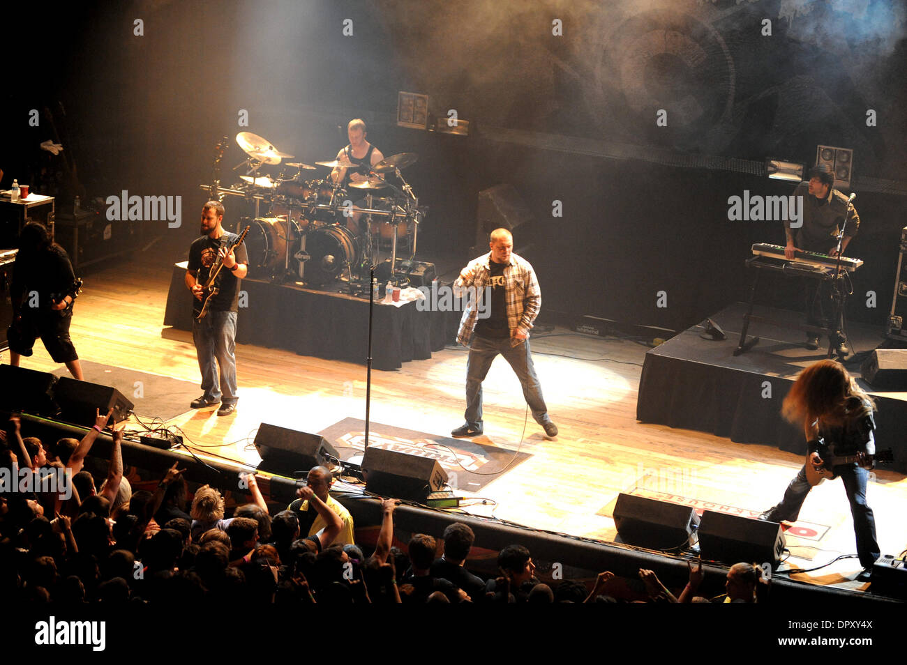 Apr 10, 2009 - Myrtle Beach, South Carolina, USA - Musicians of the band Chimaira perform a live concert show as their 2009 tour makes a stop at the House of Blues located in Myrtle Beach. The American metal band from Ohio has been together since 1998. (Credit Image: © Jason Moore/ZUMA Press) - Stock Image