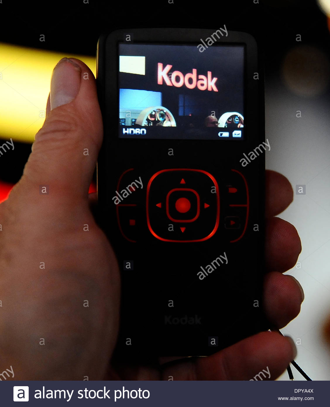 Jan 10, 2009 - Las Vegas, Nevada, USA - Kodak shows their new ZX1 pocket HD video camera that shoots upto 60 fps and runs up to 10hrs, on display during the 3rd day of the 2009 Consumer Electronics Show (CES) in Las Vegas NV, Jan 10,2009. (Credit Image: © Gene Blevins/Los Angeles Daily News/ZUMA Press) RESTRICTIONS: * USA Tabloids Rights OUT * - Stock Image