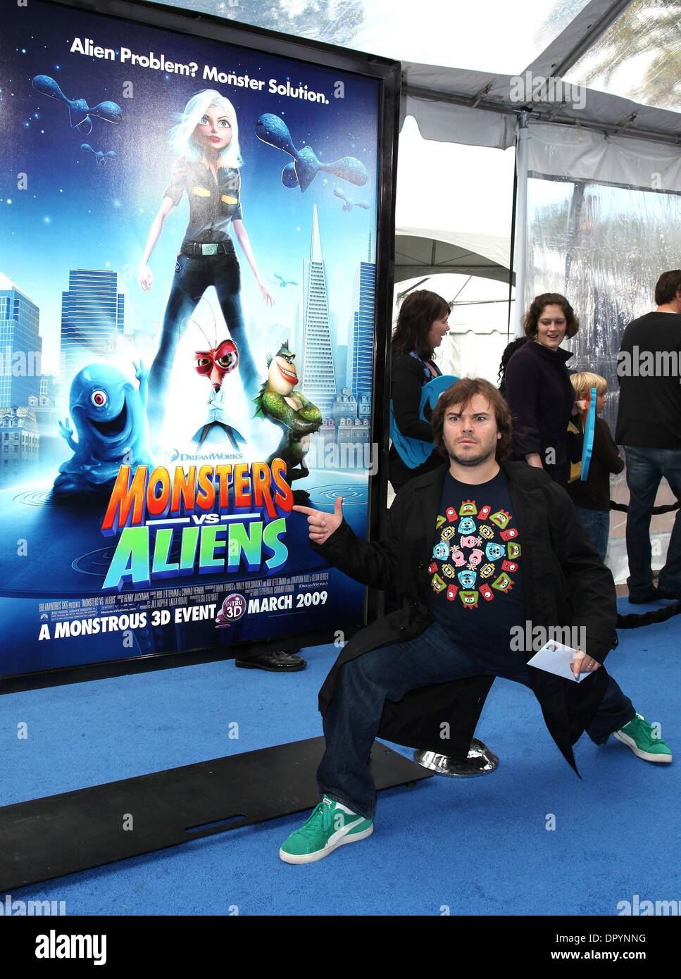 Mar 22, 2009 - Universal City, California, USA - Actor JACK BLACK arriving to the 'Monsters VS Aliens' Los Angeles Premiere held at the Gibson Amphitheatre. (Credit Image: © Lisa O'Connor/ZUMA Press) - Stock Image