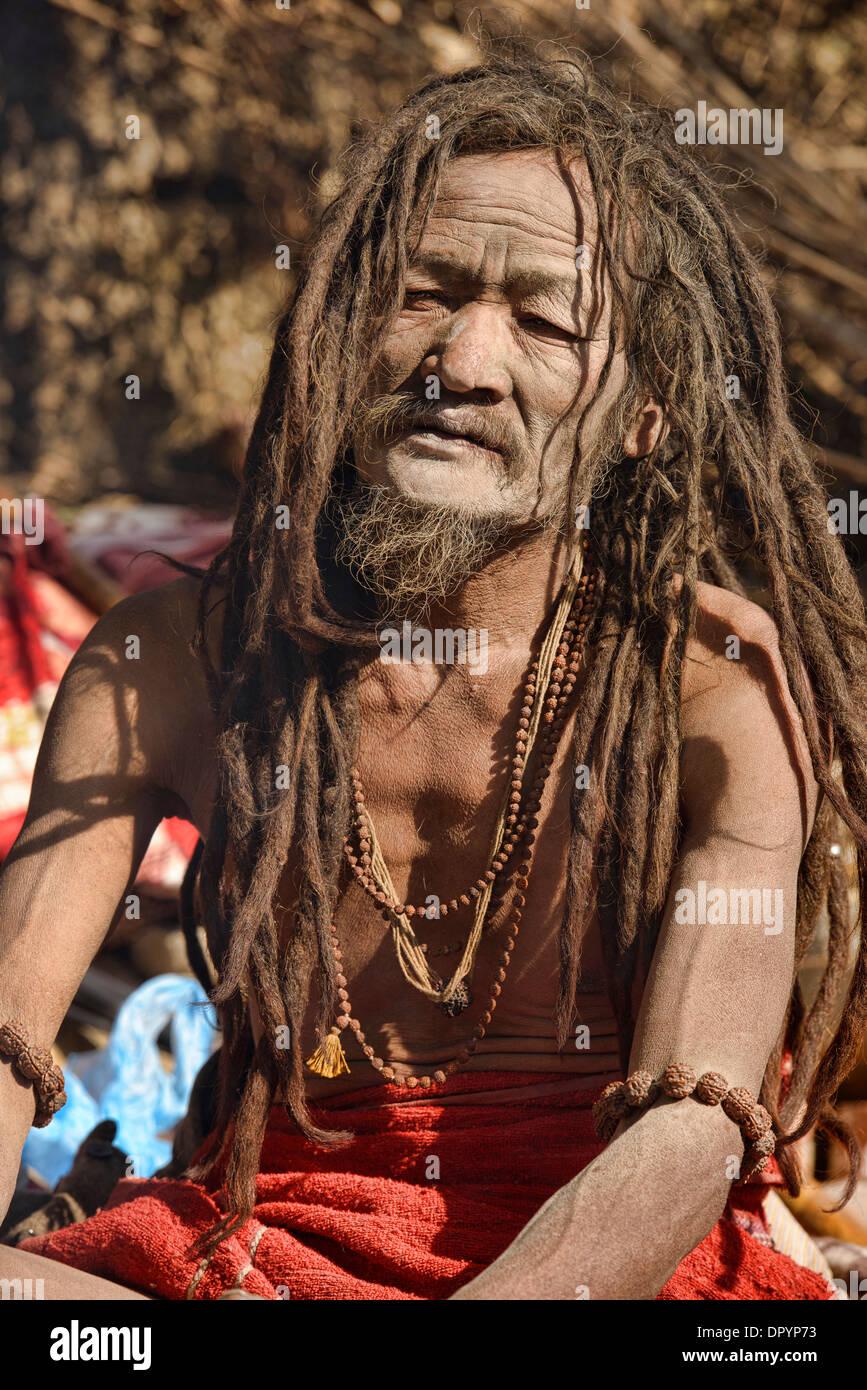 Portrait of a sadhu, Kathmandu, Nepal Stock Photo