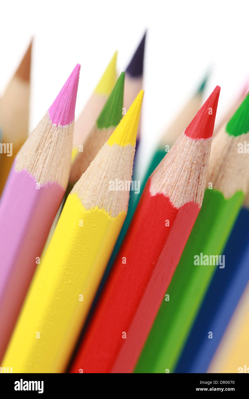 Group of colored pencils, isolated on white - Stock Image