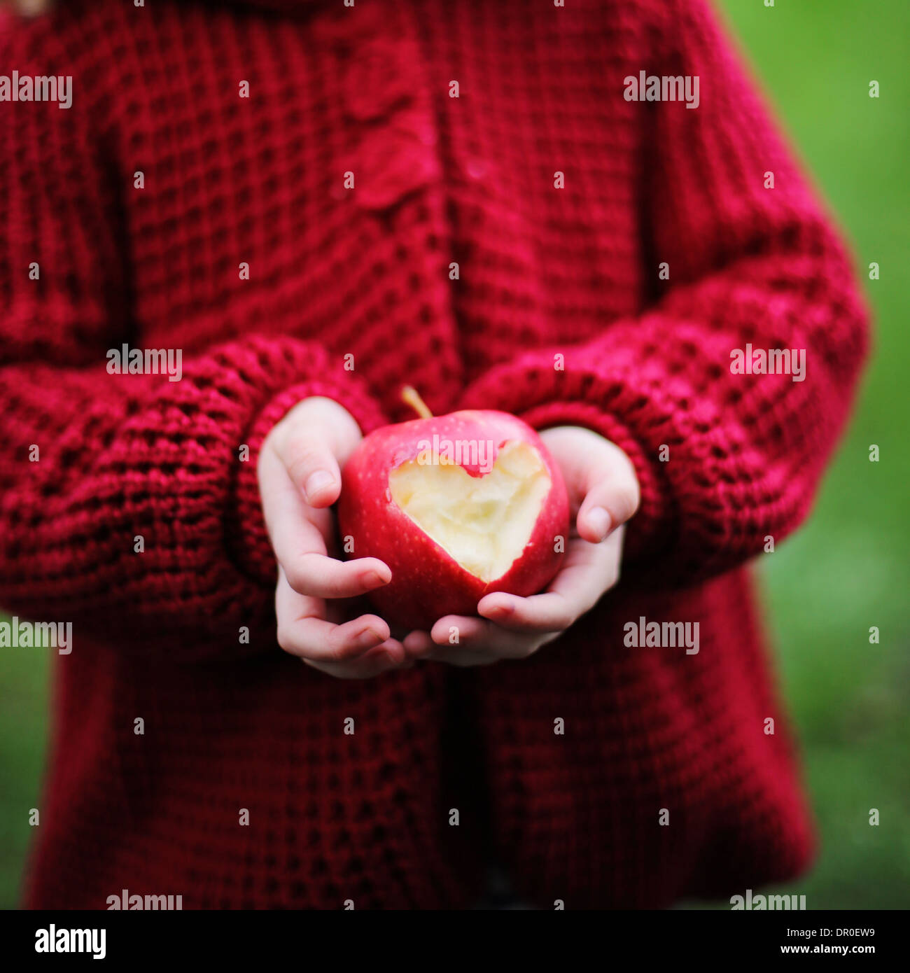 Child holding a red apple with heart shape - Stock Image