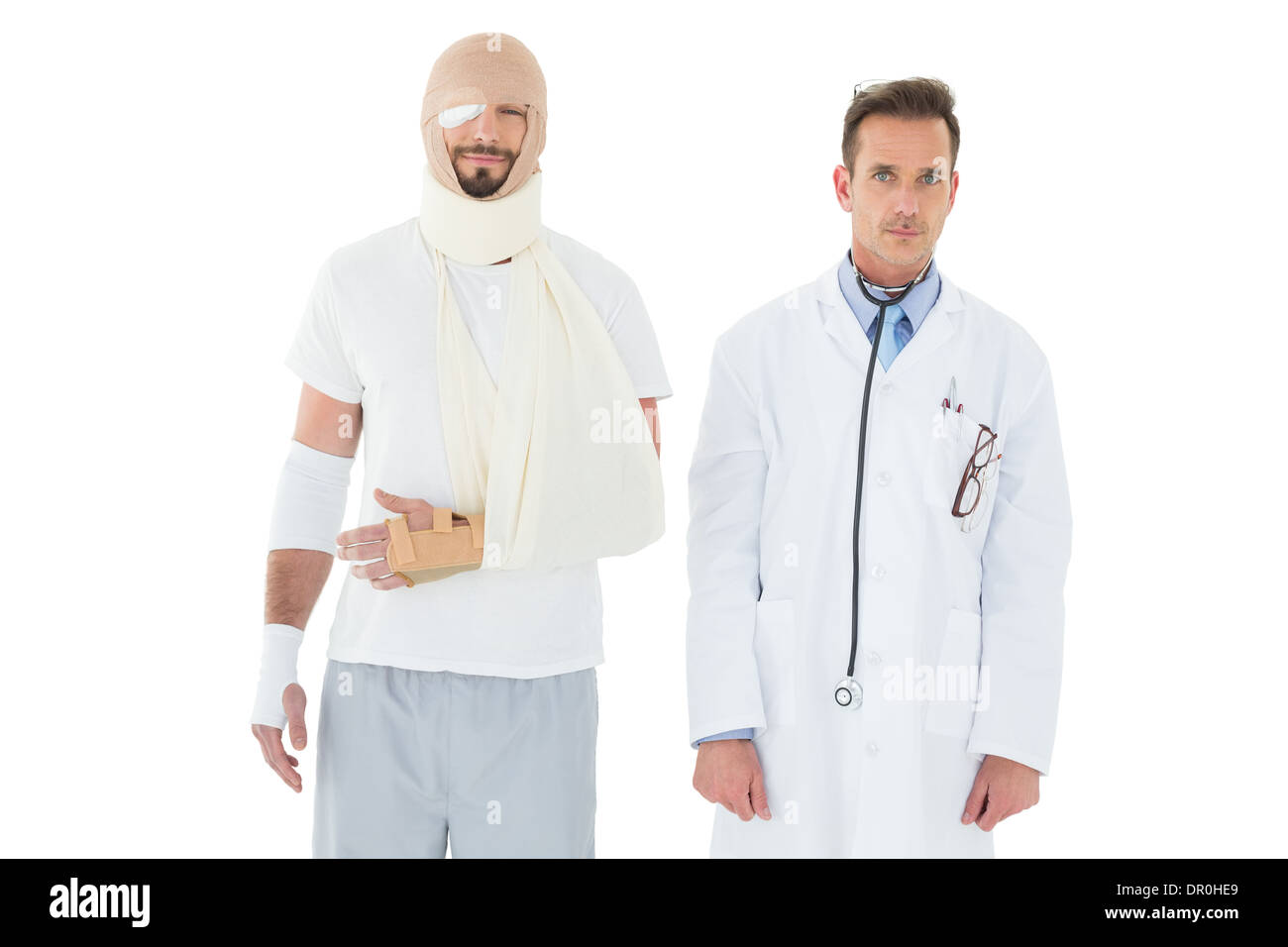 Portrait of a doctor with patient tied up in bandage Stock Photo