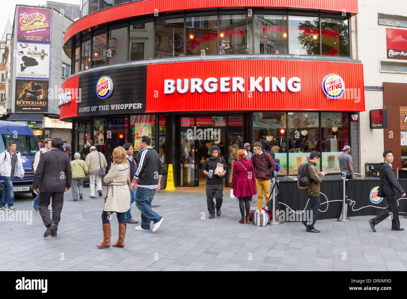 burger king fast food outlet leicester square england uk stock photo 65784137 alamy. Black Bedroom Furniture Sets. Home Design Ideas