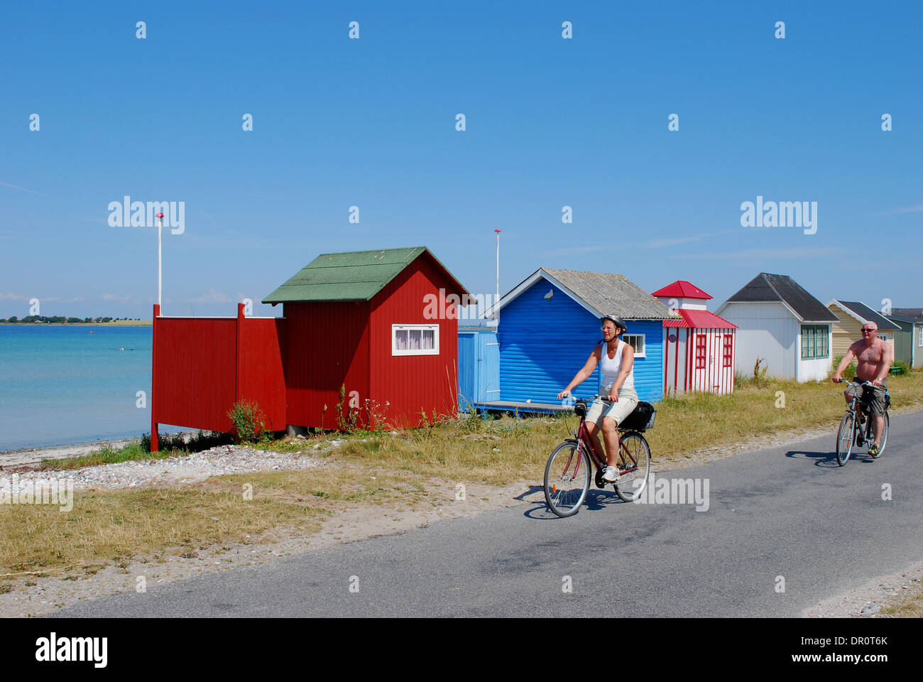 Aero island, beach Huts at Aeroskoebing  Vesterstrand, fyn, Denmark, Scandinavia, Europe - Stock Image