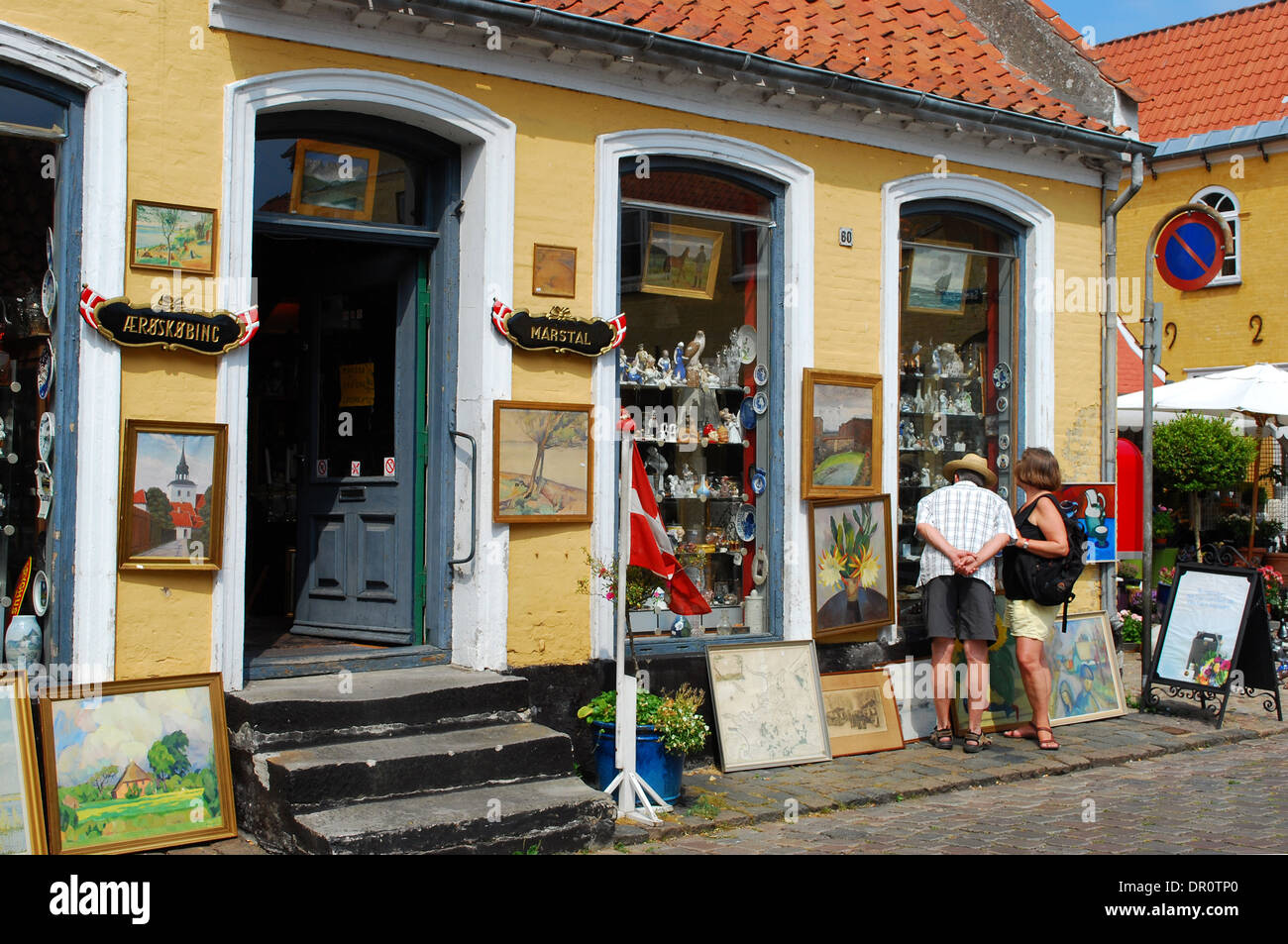 Aero island, Aeroskobing, Antique shop, Fyn, Denmark, Scandinavia, Europe - Stock Image