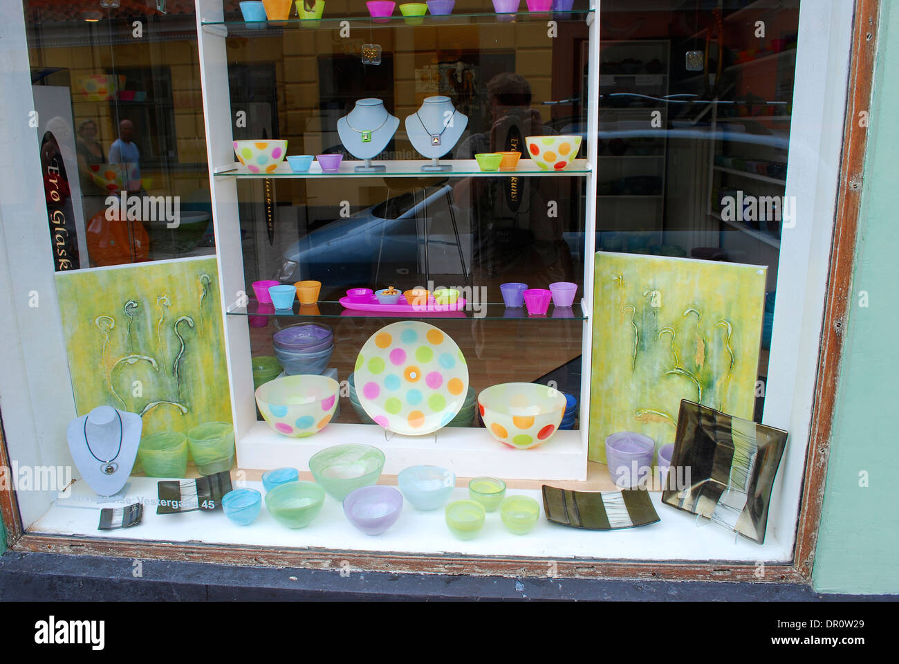 Aero island, shop window in Aeroskobing, fyn, Denmark, Scandinavia, Europe - Stock Image