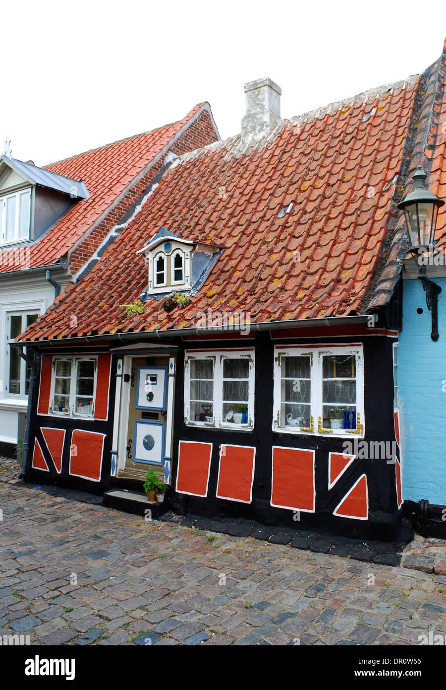 Aero island, Aeroskobing,  house at Smedegade, fyn, Denmark, Scandinavia, Europe - Stock Image