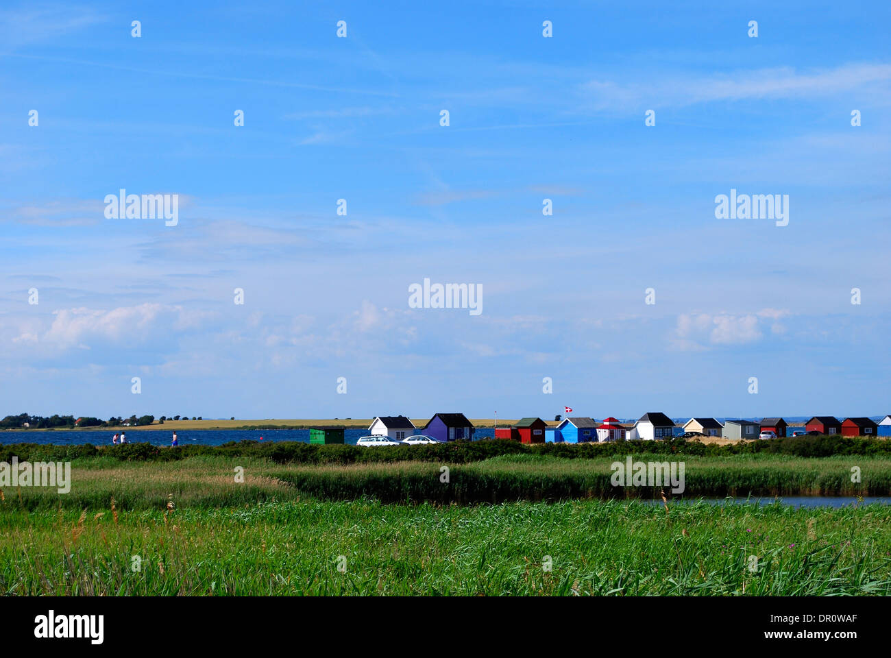 Aero island, beach Huts at Aeroskobing Vesterstrand, fyn, Denmark, Scandinavia, Europe - Stock Image