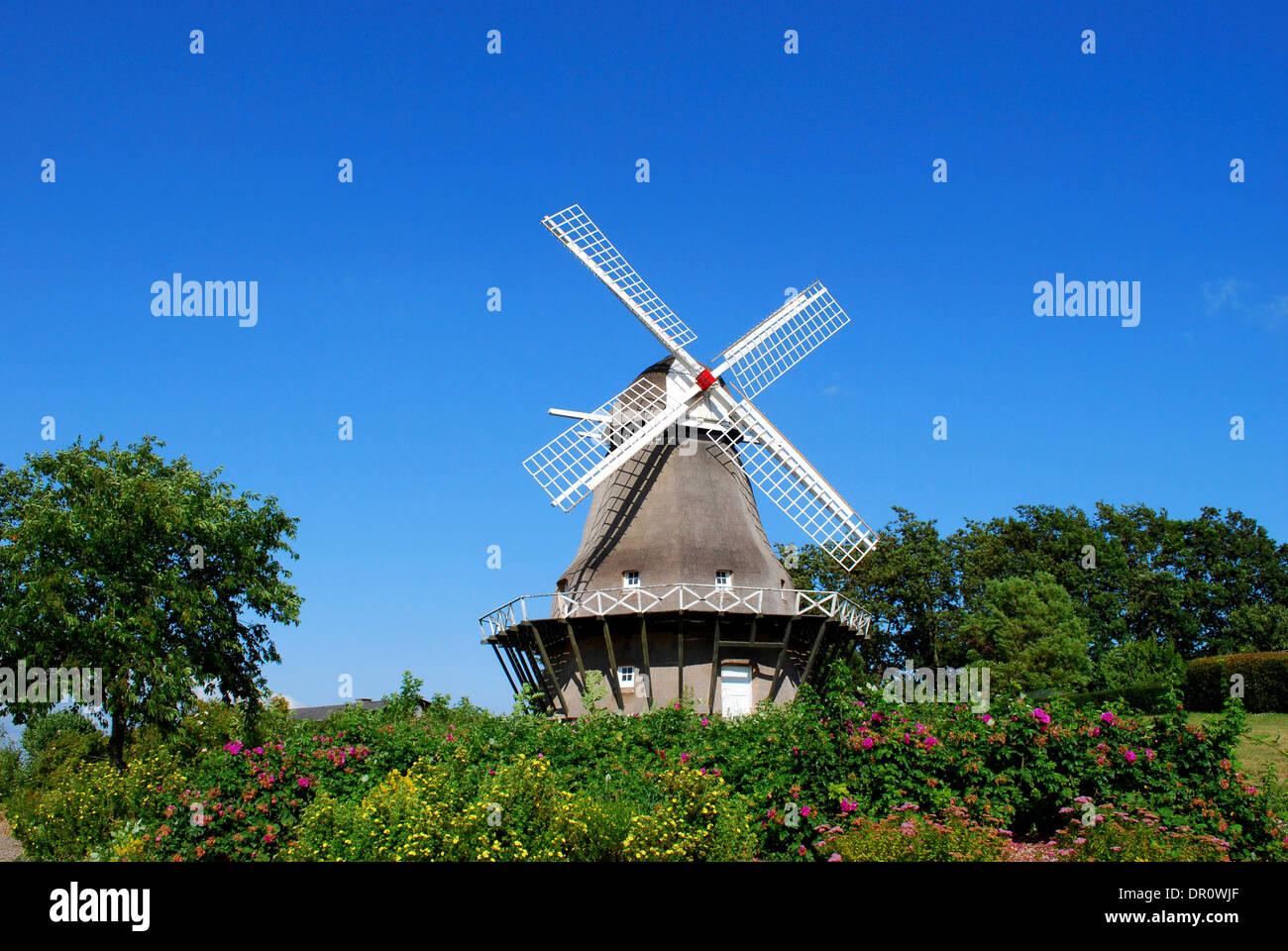 Aero, Windmill in Soeby , Fyn, denmark, Scandinavia, Europe - Stock Image