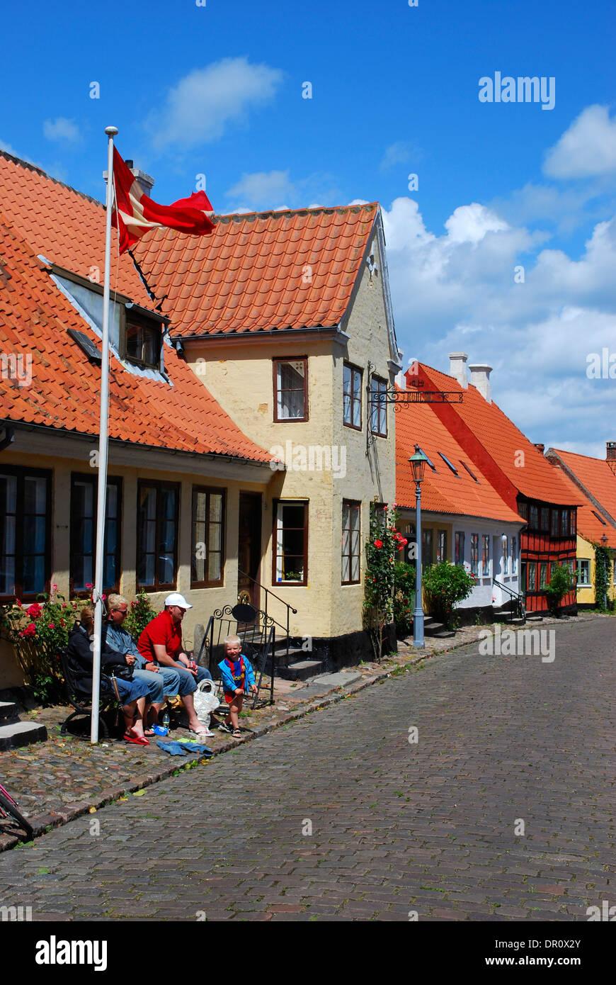 Aero island,  houses at Bodegade, Aeroskobing, fyn, Denmark, Scandinavia, Europe Stock Photo
